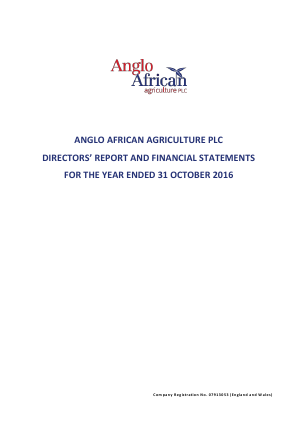 Anglo African Agriculture Plc annual report 2016