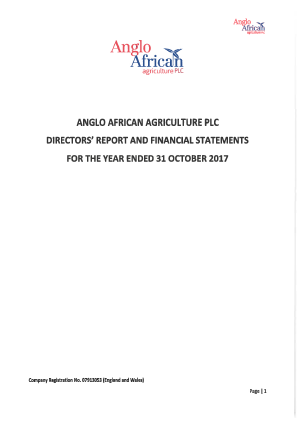 Anglo African Agriculture Plc annual report 2017