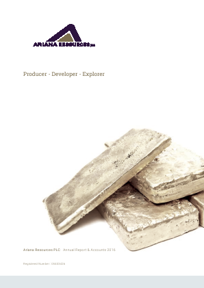 Ariana Resources annual report 2016