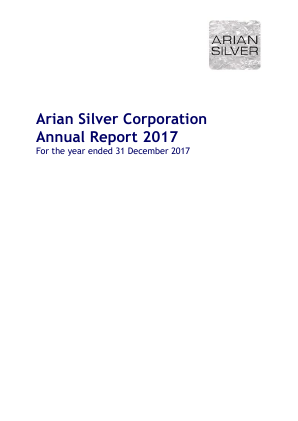 Arian Silver Corp annual report 2017