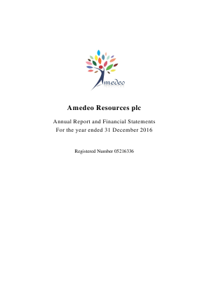 Amedeo Resources Plc annual report 2016