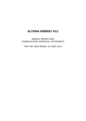 Altona Energy Plc annual report 2016