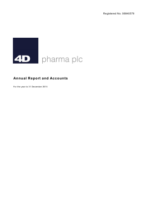 4D Pharma Plc annual report 2015