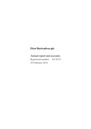 First Derivatives Plc annual report 2016