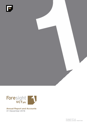 Foresight VCT Plc annual report 2016