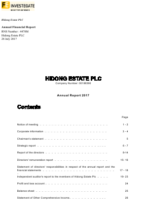 Hidong Estate annual report 2017
