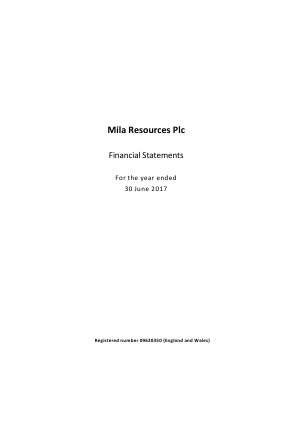 Mila Resources annual report 2017