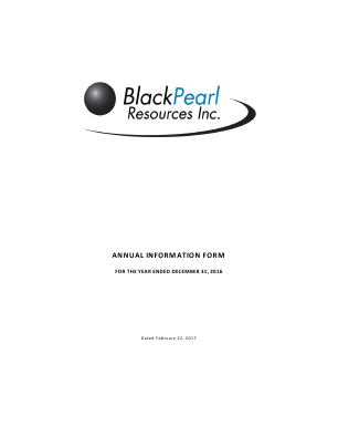 BlackPearl Resources SDB annual report 2016