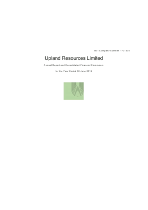 Upland Resources Ltd annual report 2016